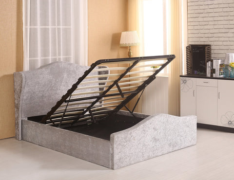 Grey Velvet Fabric Winged Headboard Ottoman Lift Up Storage Bed