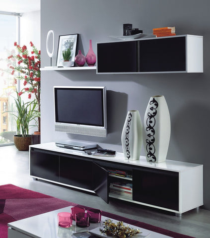 Adila Black and White Gloss TV Unit Complete Wall Cabinet