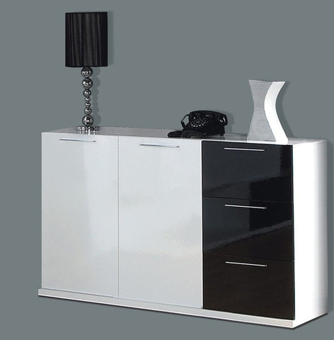 Adila Black And White Gloss Sideboard