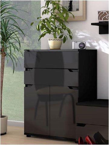 Aspley 2 Door 2 Drawer Tall Sideboard In Black Gloss