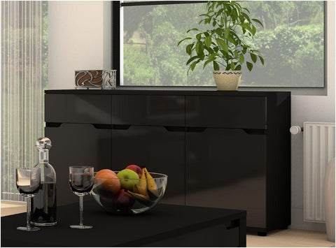 Aspley 3 Door 3 Drawer Black Gloss Sideboard