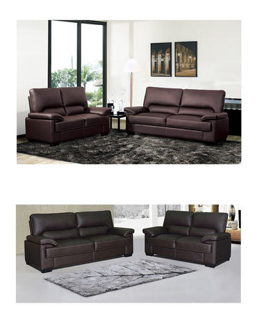 Deluxe Faux Leather 3+2 Sofa Set In Black & Brown