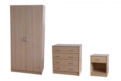 Badalona Bedroom Furniture Set - Wardrobe, Chest & Bedside