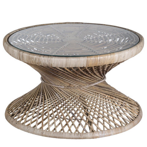 Rattan Twisted Coffee Table With Glass Top