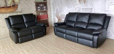 Oxford Faux Leather Recliner Sofa Set 3 2 Or 3 1 1 Black Brown