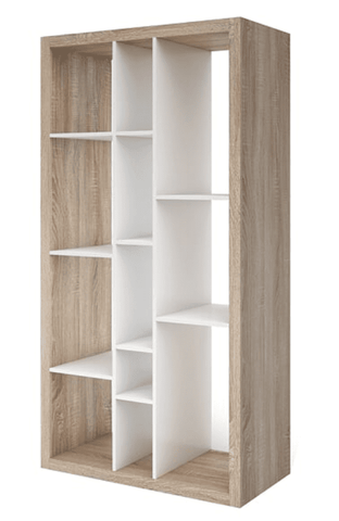2Tone Tall Open Back Wide Bookcase In Matt White With Oak Effect
