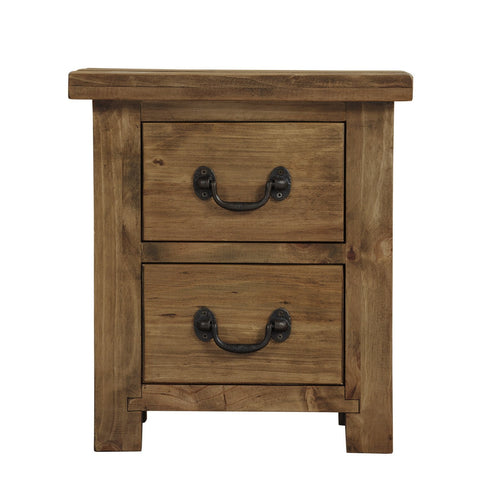 Cotswold Rustic Bedside Table with 2 Drawers - Assembled