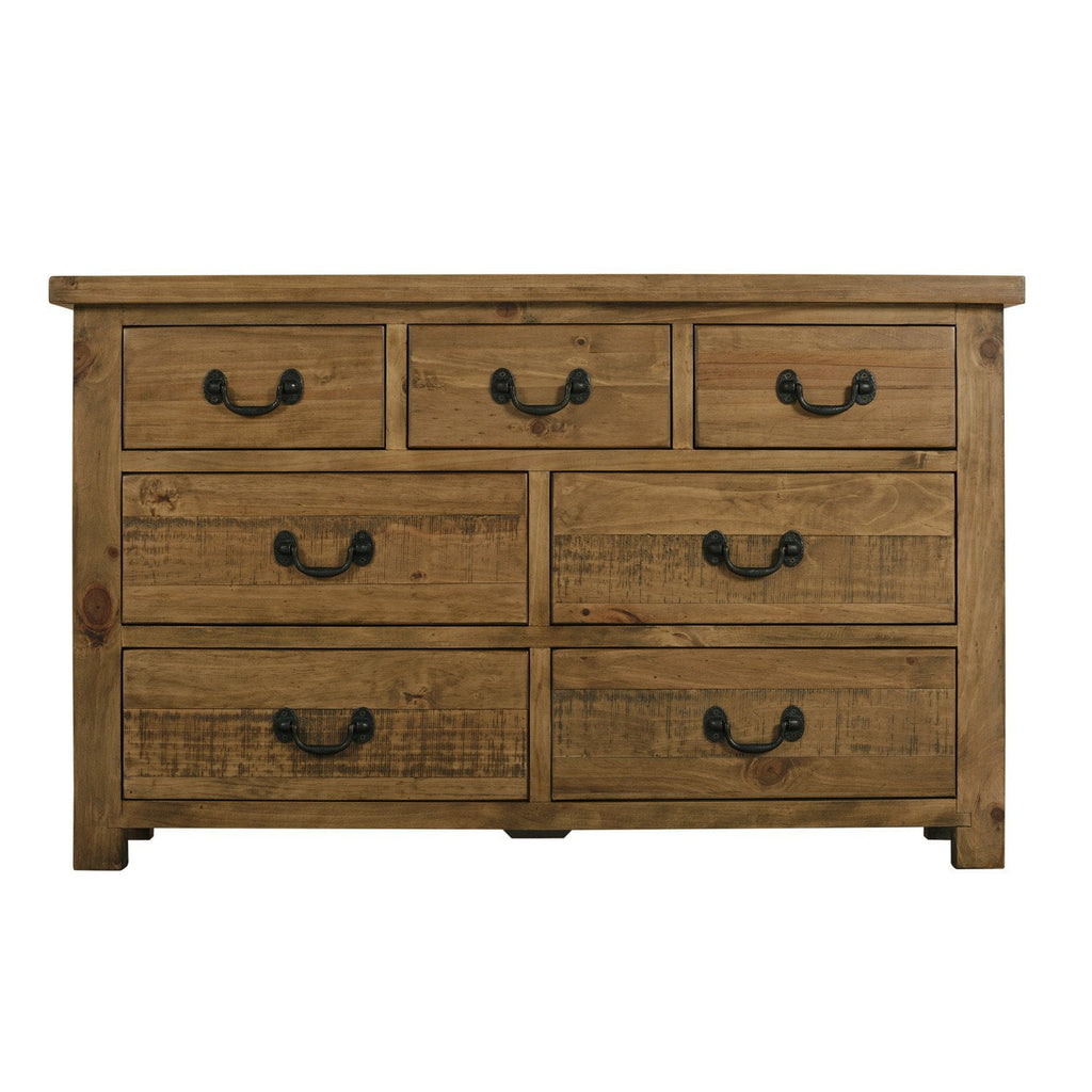 Rustic Wide Chest 3 Drawers Over 4 Assembled
