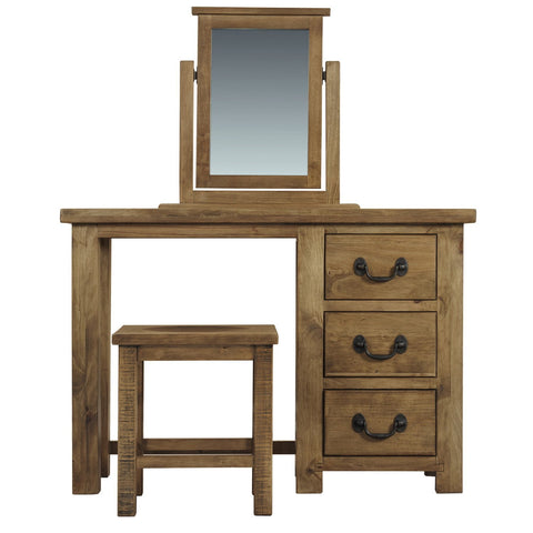 Cotswold Rustic 3 Drawer Full Dressing Table Set