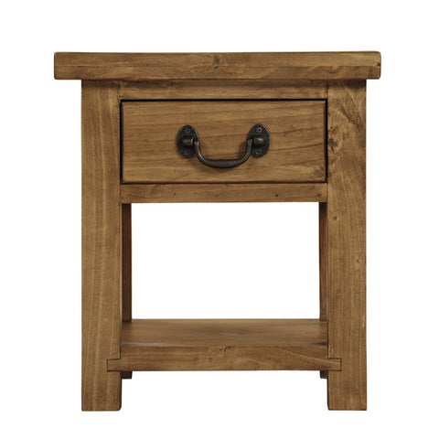 Cotswold Rustic Lamp Table with Drawer - Assembled