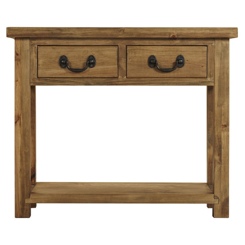 Cotswold Rustic Console Table with 2 Drawers
