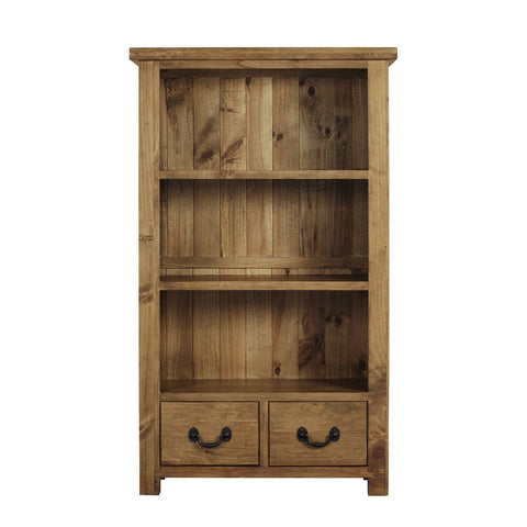 Cotswold Rustic Bookcase with 3 Shelves & Drawers - Assembled