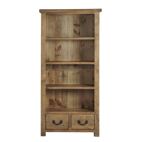 Cotswold Rustic Bookcase with 4 Shelves & Drawers - Assembled