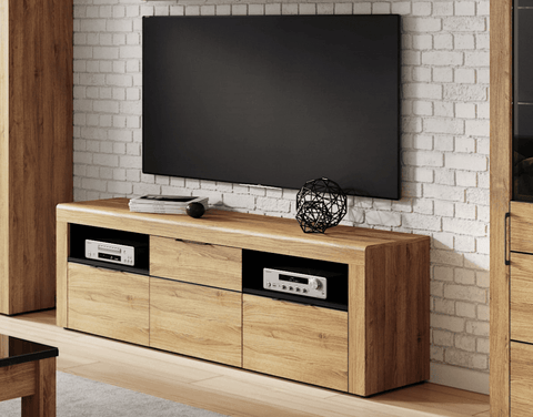 Croft Large Oak Effect 2 Drawer TV Cabinet