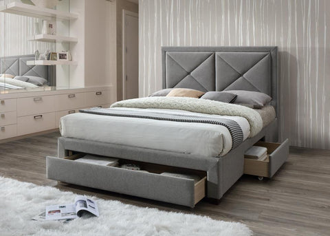 Cezanne Velvet Fabric Storage Bed In Grey & Mink