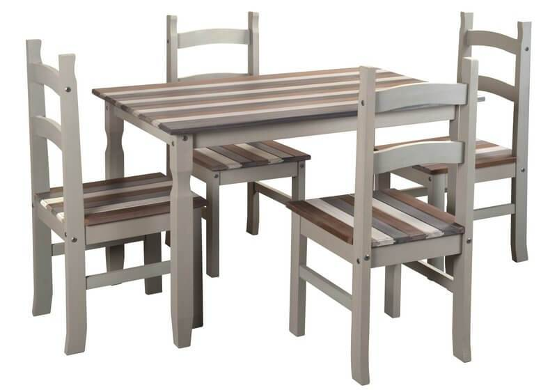 Wondrous Corona Pine Vintage Dining Table Set With 4 Chairs Download Free Architecture Designs Viewormadebymaigaardcom