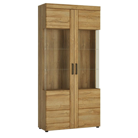 Cortina Tall wide 2 door glazed display cabinet in Grandson Oak Finish