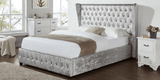 Diamond Designer Crushed Velvet Silver Bed - Double & Super King Size