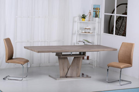 Elisa Oak Finish Extending Dining Table with Stainless Steel Base