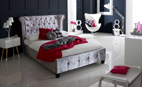 Epsilon Luxury Bed - Double, King & Super King Size (Crushed Ice Velvet, Mink Velvet)
