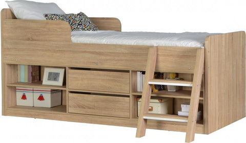 Felix Low Sleeper Kids Wooden Bed In Sonoma Oak Effect