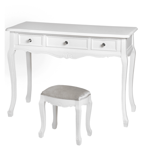 Fleur White 3 Drawer Dressing Table Set
