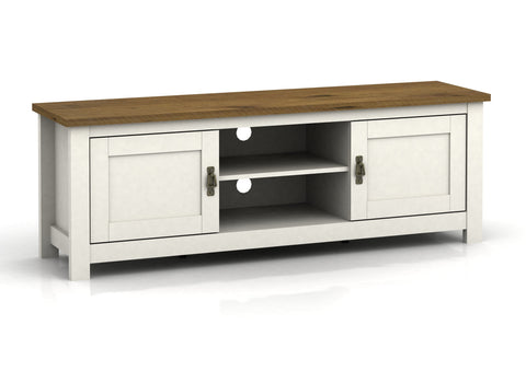 Farmhouse Painted Wide TV Entertainment Unit - White or Grey