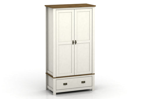 Farmhouse Painted Double Wardrobe With 1 Drawer
