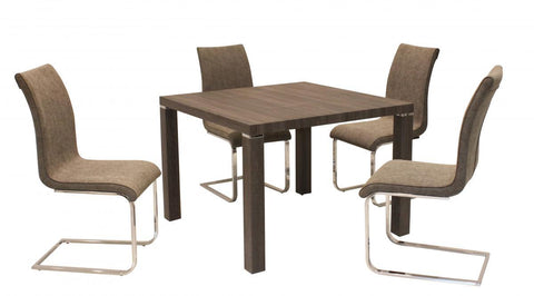 Finley Square Walnut Effect Dining Table Set with 4 Chairs