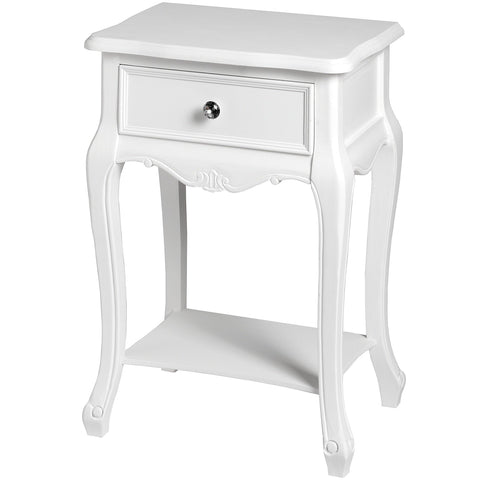 Fleur White 1 Drawer Lamp Table