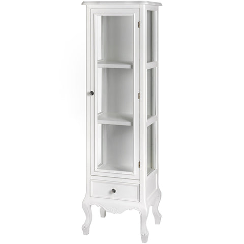 Fleur White Tall Glazed Display Cabinet