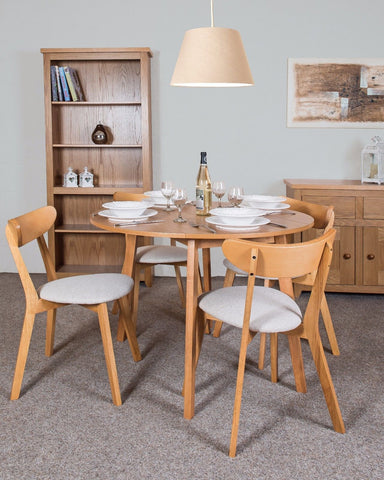 Hamilton Round Drop Leaf Dining Table With Ash Veneer Top
