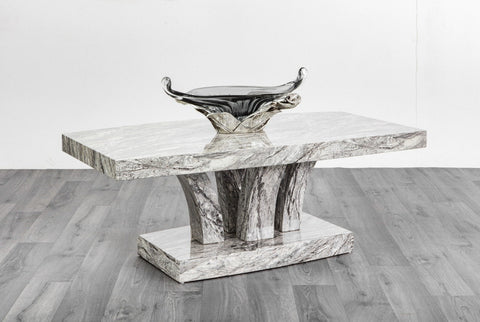 Luxury Marble Effect Stone Grey High Gloss Coffee Table