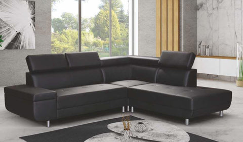 Lukas Black Faux Leather RH Corner Sofa with Headrest