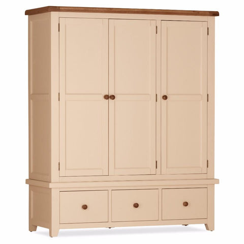 Jenison Oak 3 Door 3 Drawer Wardrobe