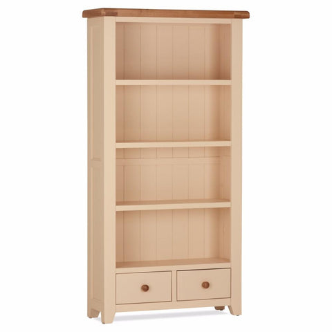 Jenison Oak Tall Bookcase 2 Drawer - Assembled