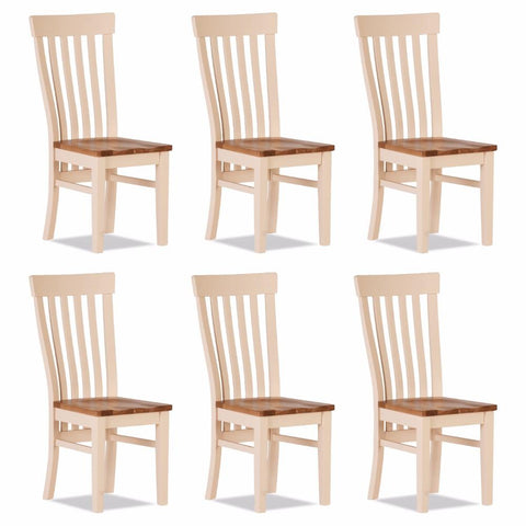 Jenison Oak Curved Dining Chair Wooden Seat (Set of 6) – Assembled