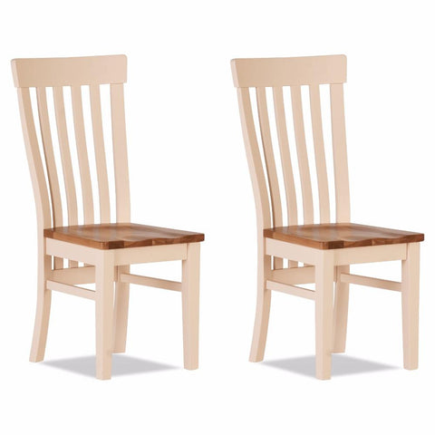Jenison Oak Curved Dining Chair Wooden Seat (Set of 2) – Assembled