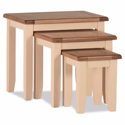 Jenison Oak Nest of 3 Tables – Assembled