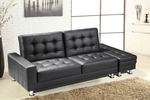 Faux Leather Sofa Bed With Ottoman Storage Bench