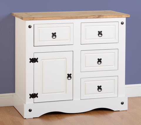 Corona 1 Door 4 Drawer Sideboard - White/Distressed Waxed Pine
