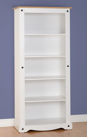 Corona Tall Bookcase in White/Distressed Waxed Pine