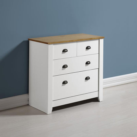 Ludlow 2+2 Chest Of Drawers In White With Pine Top
