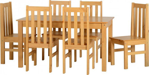 Ludlow Dining Set in Oak Lacquer (Table + 6 Chairs)