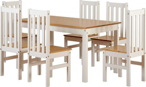Ludlow Dining Set White With Pine Top (Table + 6 Chairs)