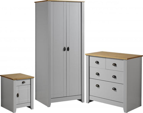 Ludlow Bedroom Furniture Set In Grey/Oak Lacquer