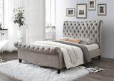 Larrisa Mink Velvet Luxury Bed With Buttoned Headboard