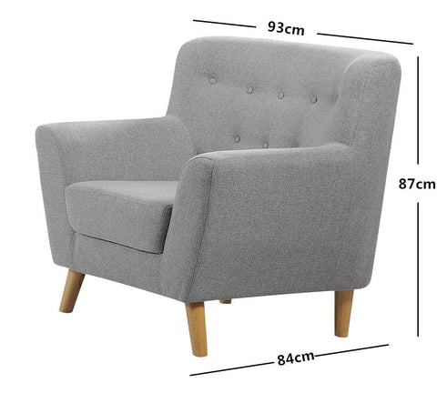 Modern Scandinavian Style Fabric Tub Sofa - 1, 2 or 3 Seater - Light Grey