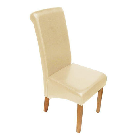 London Faux Leather Wooden Chair - Cream