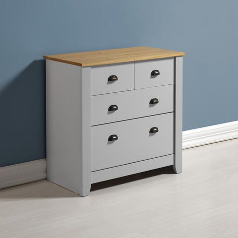 Ludlow 2+2 Chest Of Drawers In Grey With Pine Top